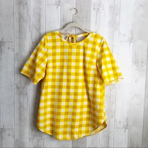 [COS] Mustard Yellow Tie Back Gingham Blouse
